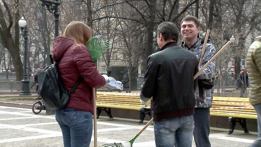 Праздничный субботник состоялся в Центральном округе Москвы 20 апреля