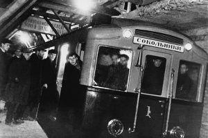 1934 год. Первый испытательный поезд метрополитена, совершивший пробную поездку от станции «Комсомольская» до станции «Сокольники». Фото предоставили в пресс-службе метрополитена