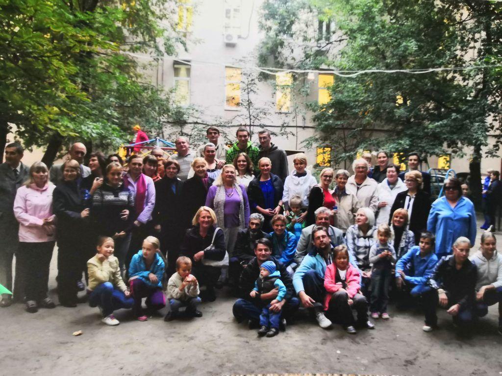Жители дома 2/6 в Хоромном тупике отмечают юбилей. Фото: Зифа Хакимзянова