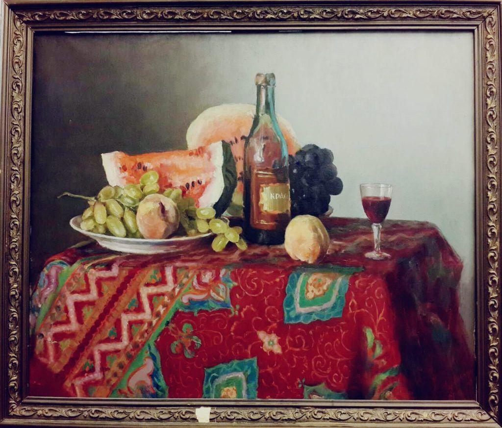 Картина Павла Бродского «Натюрморт с кашмирской шалью», 1955 год