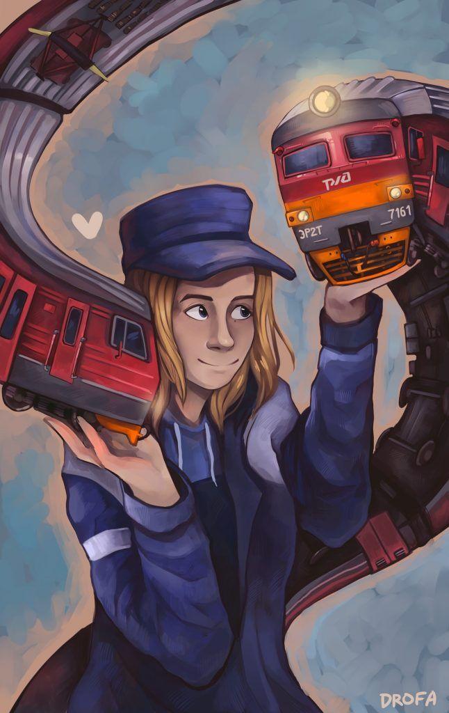 Ее картины посвящены железной дороге. Фото из личного архива