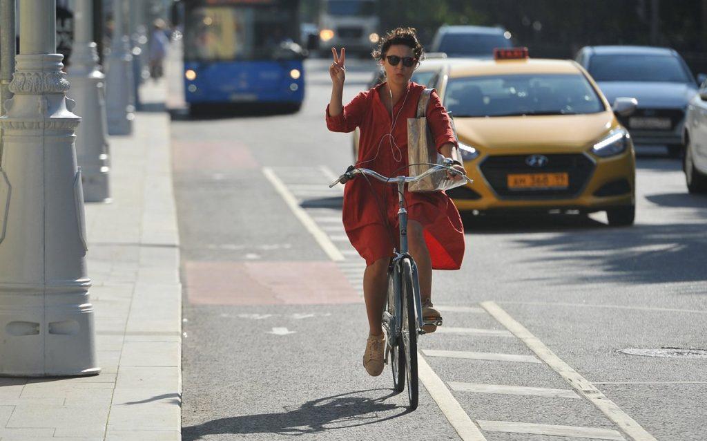 Временную велополосу обустроили на Лесной улице