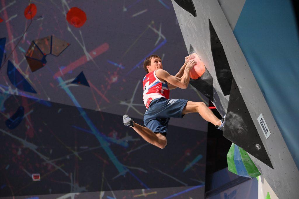 Фотофакт: спортсмен Алексей Рубцов выиграл соревнования в дисциплине «боулдеринг» на чемпионате Европы